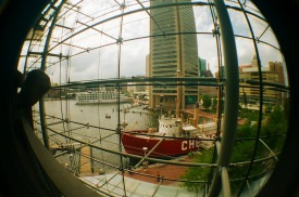 view of the Inner Harbor from the Baltimore Aquarium
