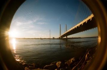 golden hour glowing bridge