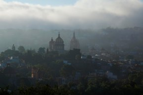 foggy monday morning terrace view