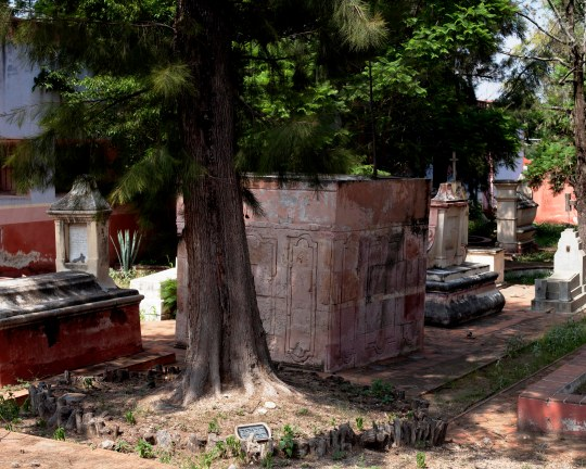 through the cemetery gates