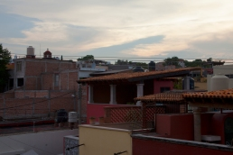 tile roofs at twilight